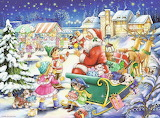 Colours-colorful-Christmas-Santa-sleigh-village-painting-Weihnac