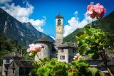 Church, Switzerland, Lavertezzo, Canton of Ticino, trees, flower