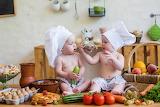 Children, table, basket, strawberry, kitchen, cook, vegetables,