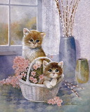 Ruane Manning 'Flower Basket with Cats'