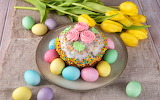 Easter, cake, eggs, tulips, spring, colorful