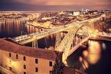 Bridge over Douro River night Porto Portugal