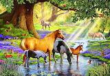 Horses by the stream - Steve Crisp