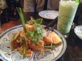 ^ Pad Thai and traditional pandan drink