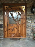 Walnut Entry Door Glass with river rocks inside