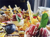 Sweet dessert tray with fruit pastry