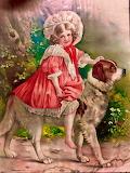a girl rides a Saint Bernard picture