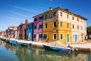 Coloured houses and boats