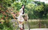 asian girl with bike