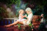 Flowers, stones, magic, woman, roses, masonry, girl, child, fair