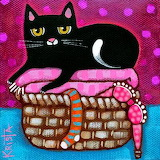 Cat and Fresh Laundry by Krista