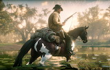 Cowboy, hair, horse, hat, the gun, swamp, Rockstar, Bandit, Red