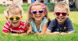 Joy, children, glasses, girl, lawn, boys
