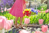 POTW - Gardening, woman, dress, flowers