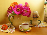 Lemon, flowers, cup, harmony, color, sweet, drink, cool, bouquet