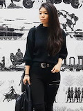 Jianshan Turtleneck Knitted Long Sleeve Casual Sweater