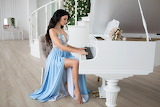 Girl, blue dress, piano, stairs, room, beauty, sitting, white pi
