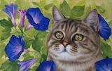 Cat and morning glory by Irina Garmashova