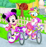 Minnie and Daisy Biking