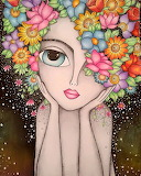 Girl with head of flowers