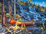 Waterfall Night By Darrell Bush