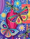 colorful butterflies abstract art