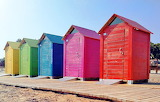 Colored beach cabins