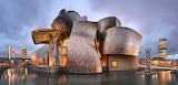 Panorama-of-Guggenheim-Museum-in-the-Evening-Bilbao-Spain