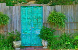 Teal fence door