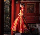 #Chinese Girl Red Clothes Retro Style