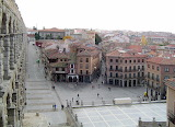 Roman aqueduct in Segovia (side view)