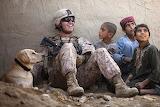 Soldier-kids, children, boys, dog
