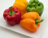 ^ Multi-colored peppers