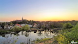 Saale River Halle Germany at sunset