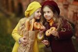 Children, girls, brown bag, bread, baguette, buns, girlfriend, h