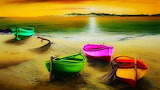 Colorful Boats on the Shore