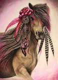 Pink, Brown Horse, Feathers, Dreamcatcher, Bow