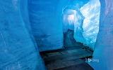 Rhône Glacier ice grotto in Valais. Switzerland