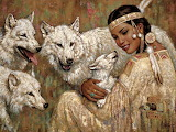 Native girl with wolfes