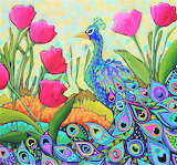 peacock and tulips