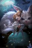Girl and her bunnies