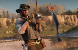 Cowboy, man, fishing, fish, hat, rod, Rockstar, Bandit, Red Dead