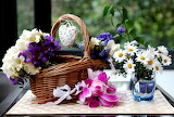 Water, flowers, glass, chamomile, basket, heart