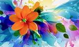 orange flower watercolor art