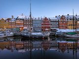 ^ Copenhagen, Denmark, New Harbor, boats, houses, colors, snow,