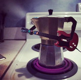 Coffee pot playing the blues