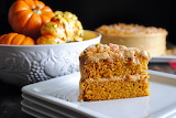 ^ Pumpkin Spice Layer Cake with Caramel Cream Cheese Frosting