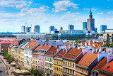Poland, Warsaw, modern skyscrapers & houses of old town