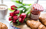 Tulips, jam, croissants, flowers, jar