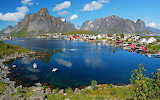 Village Nestled in the Coastal Mountains of Norway